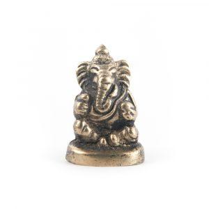 Ganesha Mini-Statuette sitzend Messing - 3 cm