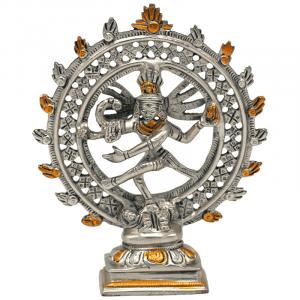 Shiva Nataraja Messing doppelter Ring 2farbig - 15 cm