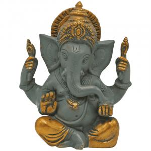 Ganesha grau mit goldfarbigem Finishing - 14 cm