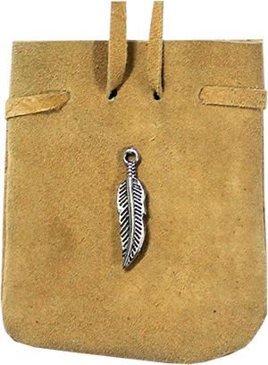 Wildledertasche - Feder (natur)