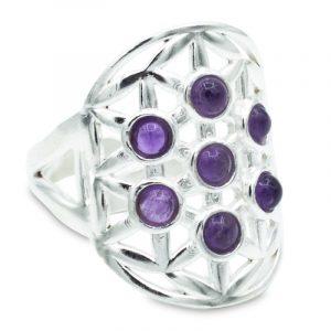 Silber Ring Blume des Lebens mit Amethyst
