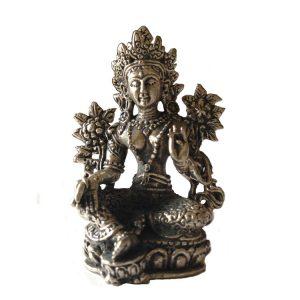 Statue der Mini-Grünen Tara aus Metall (8,2 cm)