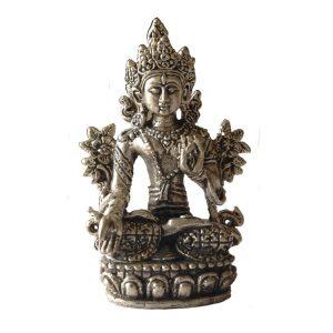 Metall Statue Mini Weiße Tara Silber - 8,2 cm