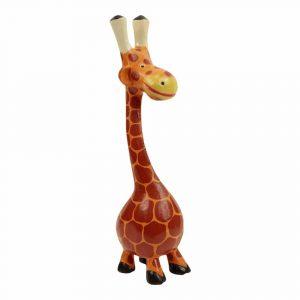 Statue aus Holz Giraffe mit Bauch (49 x 12 x 11 cm)