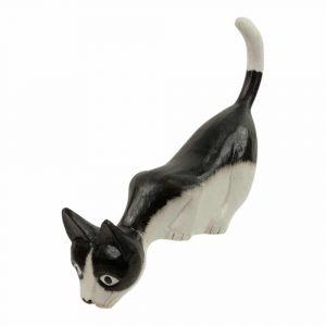 Statue aus Holz Katze - Schwarz-Weiss - schaut nach unten (26 x 21 x 8 cm)