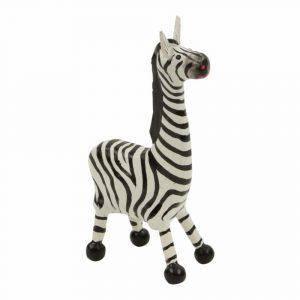 Statue aus Holz Zebra mit kurzen Beinen (14 x 7 x 4 cm)