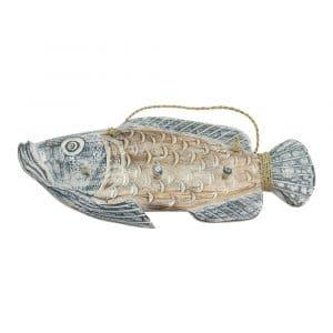 Holz-Garderobe Fisch 3 Haken (50 x 30 cm)