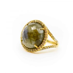 "Edelstein Ring Labradorit 925 Silber Vergoldet ""Reflektion"""