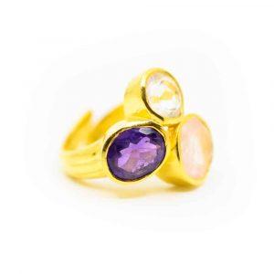 "Goldenes Dreieck Edelstein Ring 925 Silber Vergoldet ""Balance"""