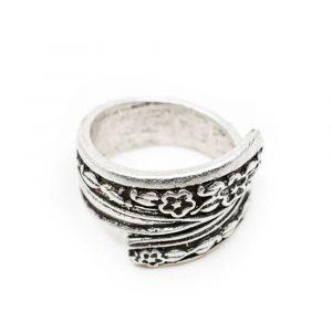 Verstellbarer Wikinger Ring Boho Blumen
