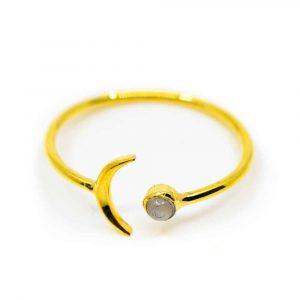 Edelstein Ring Mondstein - 925 Silber Vergoldet