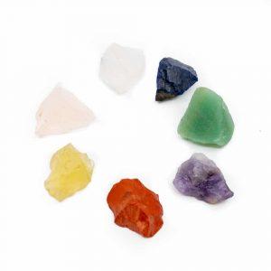 7 Chakra-Rohsteine mit Geschenktasche