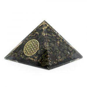 Orgonit-Pyramide aus Pyrit mit Blume des Lebens (70 mm)