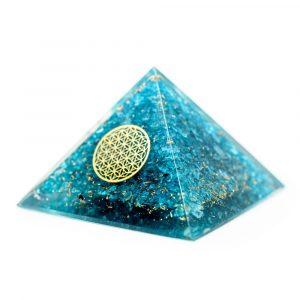Orgonit-Pyramide aus blauem Topas mit Blume des Lebens (70 mm)