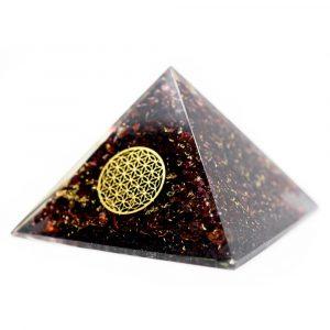 Orgonit-Pyramide Granat mit Blume des Lebens (70 mm)