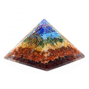 Orgonit-Pyramide 7 Chakra mit Kupferspirale (40 mm)