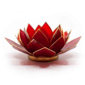 Lotus Atmosphärisches Licht Hellrot 1. Chakra Goldrand