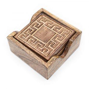 Nachhaltige Holzuntersetzer Geometrisch (6er-Set)
