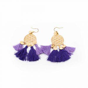 Boho Blume des Lebens Traumfänger-Ohrringe - Violett