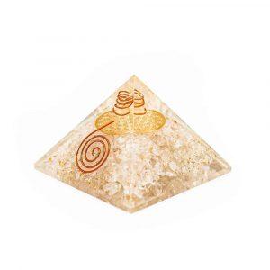 Orgon Pyramide Bergkristall mit Blume des Lebens (70 mm)