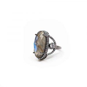 Edelstein Ring Labradorit 925 Silber - A+ Qualität