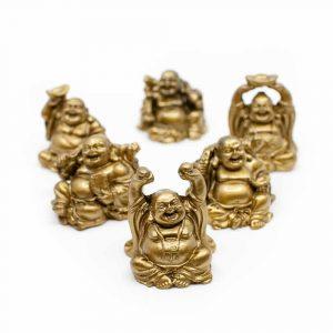 Glücks-Buddha Mini-Statuen Sitzender Buddha Polyresin Gold - Set von 6 - ca. 7,5 cm