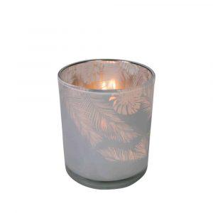 Teelichthalter Glas Dschungel Milchig Weiss (10 x 8,8 cm)