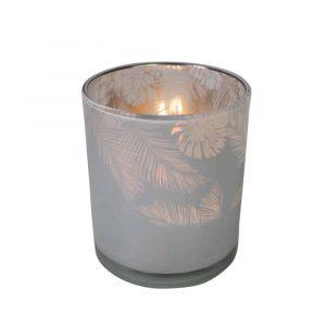 Teelichthalter Glas Dschungel Milchig Weiss (12,5 x 10 cm)
