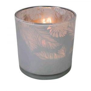Teelichthalter Glas Dschungel Milchig Weiss (15 x 15 cm)