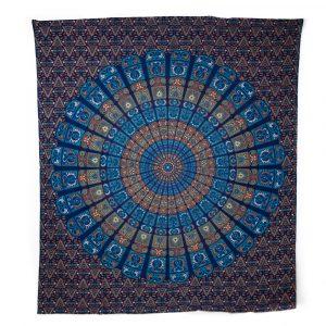 Authentisches Mandala Wandtuch Baumwolle Blau/Orange (240 x 210 cm)