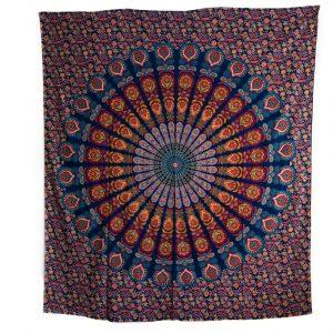 Authentisches Wandtuch Baumwolle Blaues Mandala (240 x 210 cm)