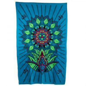 Authentisches Wandtuch Baumwolle Blaue Blume mit OM (215 x 135 cm)