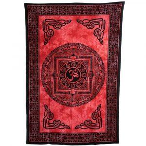 Authentisches Wandtuch Baumwolle Chakra Kreis OM Rot (215 x 135 cm)