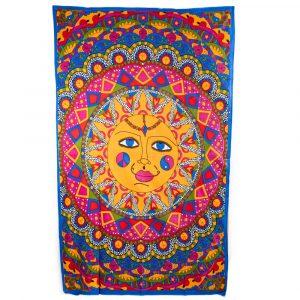 Authentisches Wandtuch Baumwolle Lachende Sonne in Kreis (215 x 135 cm)