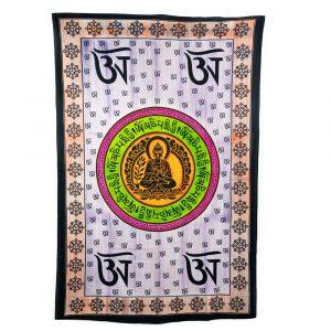 Authentisches Wandtuch aus Baumwolle mit sitzendem Buddha (215 x 135 cm)