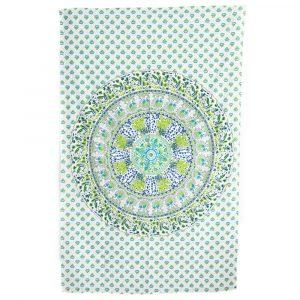 Authentisches Wandtuch Baumwolle mit Tierreich-Mandala (215 x 135 cm)