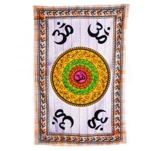 Authentisches Wandtuch Baumwolle mit OM-Mandala (215 x 135 cm)