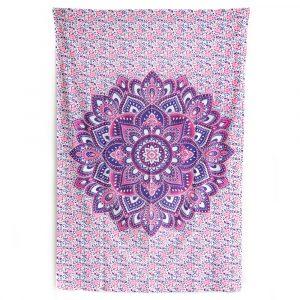 Authentisches Wandtuch Baumwolle mit violettem Mandala und Blumen (215 x 135 cm)