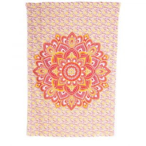 Authentisches Wandtuch Baumwolle mit rot-orangem Mandala und Blumen (215x135cm)