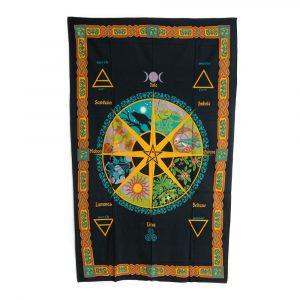 Authentisches Wandtuch Baumwolle mit keltischem Kalender (215 x 135 cm)