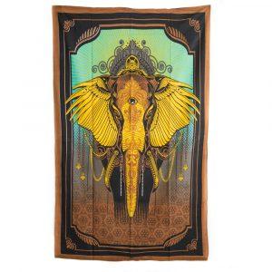 Authentisches Wandtuch Baumwolle Elefant (215 x 135 cm)