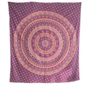 Authentisches Wandtuch Baumwolle Lila Tierreich-Mandala (240 x 210 cm)
