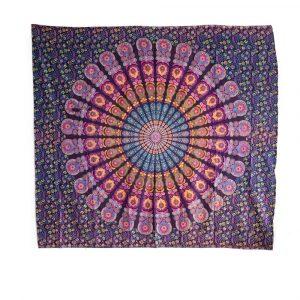 Authentisches Wandtuch Baumwolle Lila Mandala (240 x 210 cm)