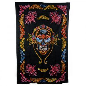 Authentisches Wandtuch Baumwolle Schädel mit Kopfhörern Bunt (215 x 135 cm)