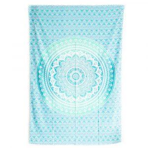 Authentisches Mandala Wandtuch Baumwolle Grün/Blau (215 x 135 cm)
