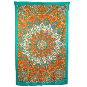 Authentisches Wandtuch Baumwolle Mandala Orange/Blau (215 x 135 cm)