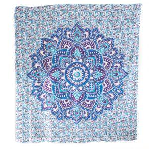 Authentisches Mandala Wandtuch Baumwolle Blau (240 x 210 cm)