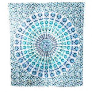 Authentisches Mandala Wandtuch Baumwolle Blau/Grün (240 x 210 cm)