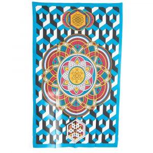 Authentisches Mandala Wandtuch aus Baumwolle Geometrische Formen (215 x 135 cm)
