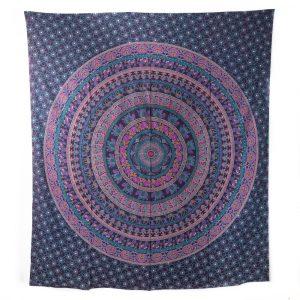 Authentisches Mandala Wandtuch Baumwolle violett mit Elefanten (240 x 210 cm)